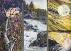 Quilt museum exhibit bathed in seasonal colors